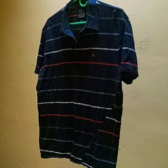 a3efe268c7 Volcom men's XL navy stripe polo t-shirt